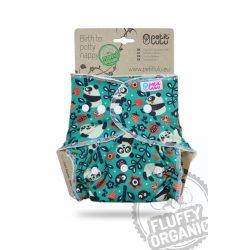 Petit Lulu Organic Fluffy patentos vagy tépőzáras egyméretes pelenkabelső, panda