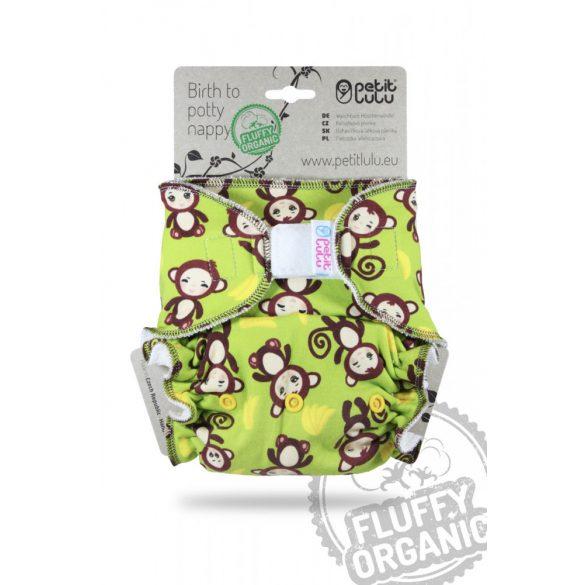 Petit Lulu ORGANIC Fluffy Maxi Night éjszakai nadrágpelenka, tépőzáras vagy patentos, majmos