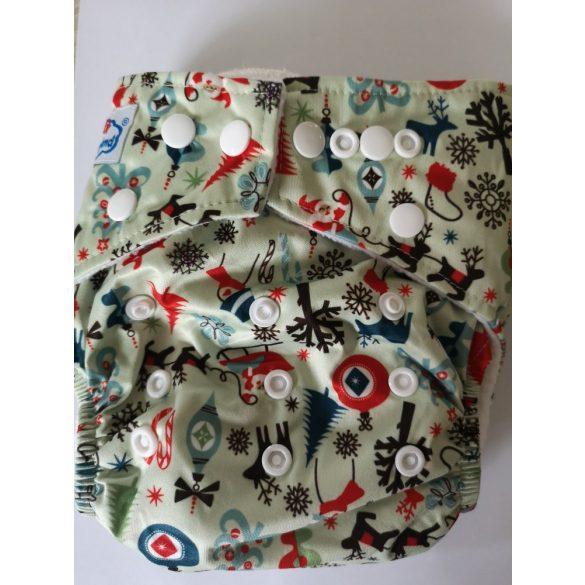 Babyland egyméretes zsebes pelenka betéttel,  karácsonyi minták