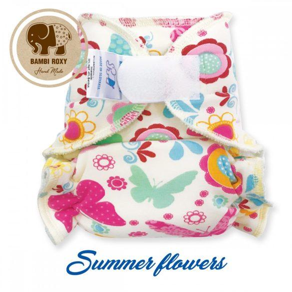 Bambi Roxy egyméretes éjszakai tépőzáras pelenka belső, nyári virágok