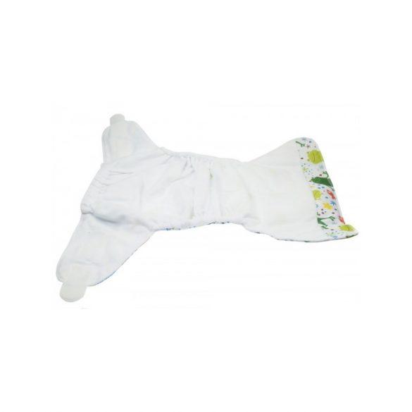 Blümchen egyméretes zsebes pelenkakülső, fehér láma